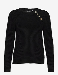 Button-Trim Cotton Sweater - trøjer - polo black