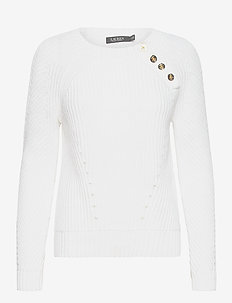 Button-Trim Cotton Sweater - trøjer - white