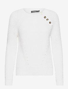 Button-Trim Cotton Sweater - truien - white