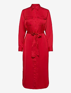 Sateen Button-Down Shirtdress - robes chemises - lipstick red