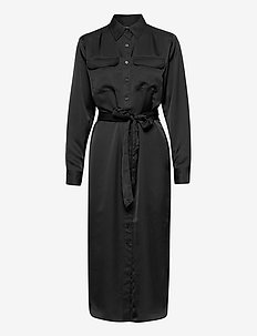 Sateen Button-Down Shirtdress - robes chemises - polo black
