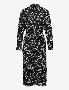 Print Belted Crepe Shirtdress - robes de jour - polo black/white