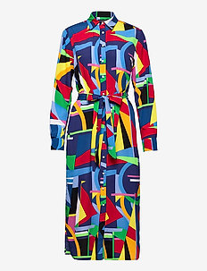 Print Belted Crepe Shirtdress - robes de jour - polo black multi