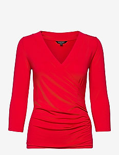 Wrap-Style Jersey Top - blouses à manches longues - lipstick red