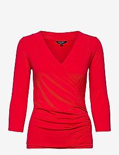 Wrap-Style Jersey Top - langærmede bluser - lipstick red