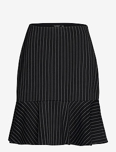 Pinstripe Flounced Ponte Skirt - midi rokken - polo black/mascar