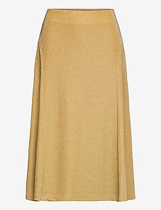 Metallic Double-Knit Jacquard Skirt - midinederdele - gold metal