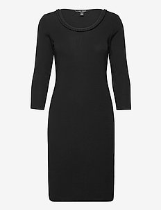 Ribbed Stretch Cotton Dress - robes de jour - polo black