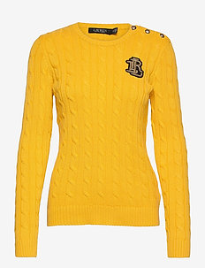 Button-Trim Cable-Knit Sweater - jumpers - athletic gold