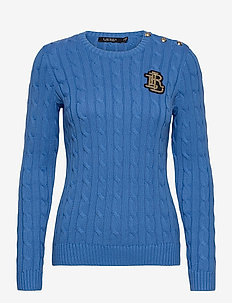 Button-Trim Cable-Knit Sweater - trøjer - captain blue
