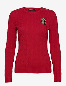 Button-Trim Cable-Knit Sweater - jumpers - lipstick red