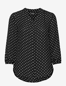 Polka-Dot Georgette Top - blouses à manches longues - polo black/white