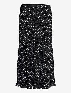 Polka-Dot Georgette Peasant Skirt - midinederdele - polo black/white
