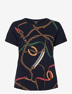 PERUVIAN PIMA MODAL-SSL-KNT - t-shirts - lauren navy multi