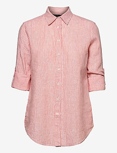 Linen Shirt - långärmade skjortor - orange/white mult