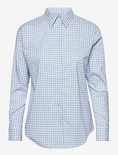 Easy Care Gingham Cotton Shirt - långärmade skjortor - lt blue/white