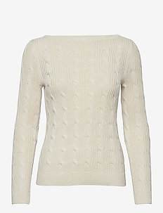 Cable-Knit Boatneck Cotton Sweater - trøjer - mascarpone cream