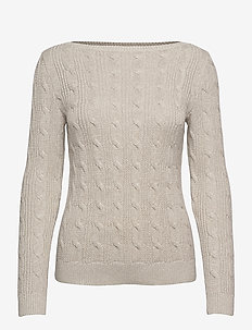Cable-Knit Boatneck Cotton Sweater - trøjer - silver