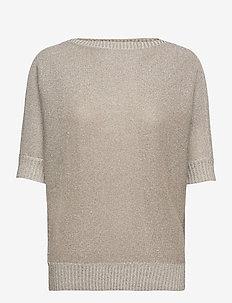 Metallic Linen-Blend Sweater - trøjer - silver