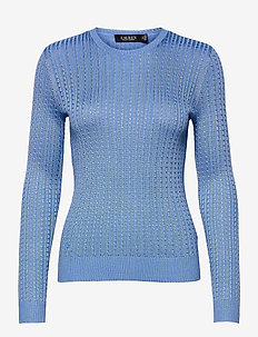 Cable-Knit Crewneck Sweater - trøjer - cabana blue