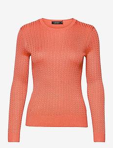 Cable-Knit Crewneck Sweater - trøjer - coral quartz