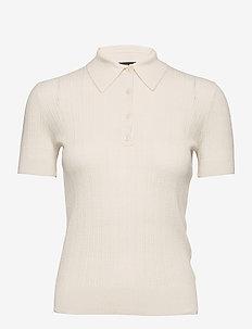 Rib-Knit Collared Shirt - polohemden - mascarpone cream