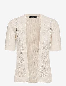 Short-Sleeve Linen Cardigan - gilets - mascarpone cream