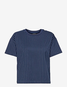 Pinstripe Ponte Tee - t-shirts - french navy/pale