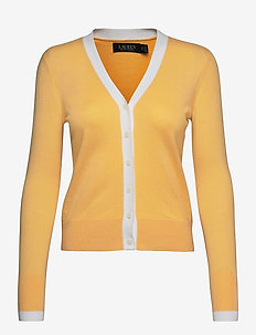 Two-Tone Cotton-Modal Cardigan Sweater - cardigans - beach yellow/whit