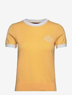 Intarsia-Knit Cotton-Modal Sweater - strikkede toppe - beach yellow/whit
