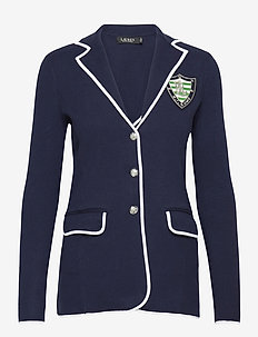 Bullion Combed Cotton Blazer - casual blazers - french navy/ whit