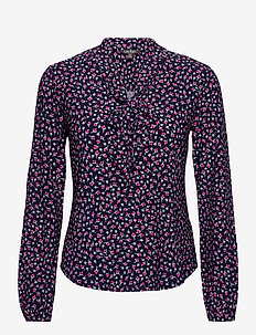 Floral Jersey Tie-Neck Top - blouses à manches longues - french navy multi