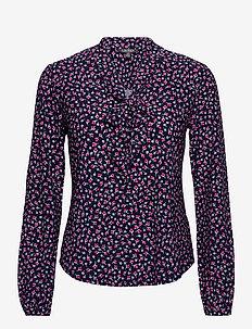 Floral Jersey Tie-Neck Top - langærmede bluser - french navy multi