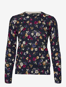 Floral Cotton-Modal Sweater - neulepuserot - french navy multi
