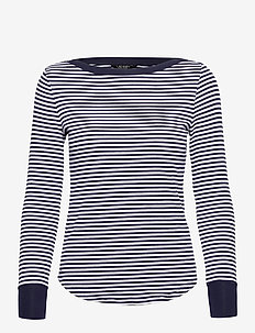Striped Snap-Trim Drop-Needle Top - langærmede toppe - french navy/white