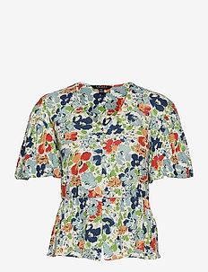 Floral Linen Jersey Peplum Top - short-sleeved blouses - cream multi