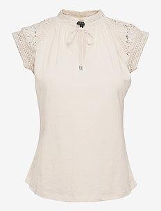 Lace-Trim Cotton Jersey Top - kortærmede bluser - mascarpone cream