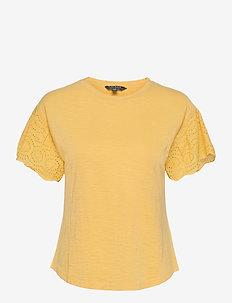 Slub Jersey Flutter-Sleeve Top - kortärmade blusar - beach yellow