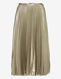 Pleated Metallic Lamé Skirt - maxi nederdele - silver
