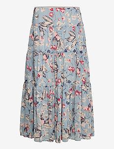 Floral Tiered Peasant Skirt - midinederdele - blue multi