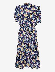 Floral Elbow-Sleeve Georgette Dress - zomerjurken - blue multi
