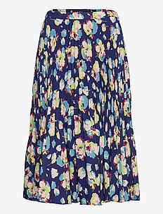 Floral Pleated Georgette Midi Skirt - midinederdele - blue multi