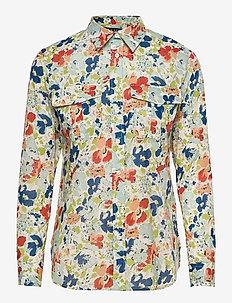 Floral Cotton Voile Shirt - langärmlige hemden - cream multi