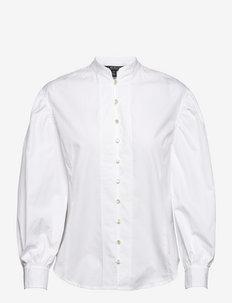 Cotton Broadcloth Balloon-Sleeve Shirt - langärmlige hemden - white