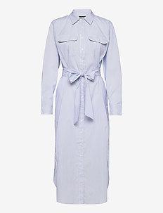 Striped Cotton Broadcloth Shirtdress - hverdagskjoler - blue/white multi