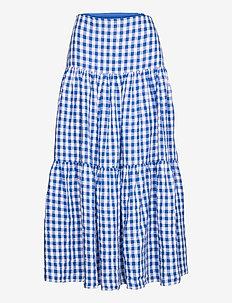 Gingham Linen Maxiskirt - midinederdele - blue/white