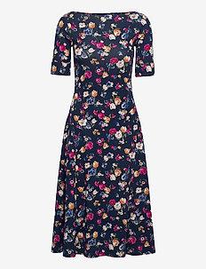 Floral Stretch Cotton Midi Dress - hverdagskjoler - french navy multi