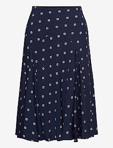 Print Crepe Peasant Skirt - midinederdele - french navy/pale