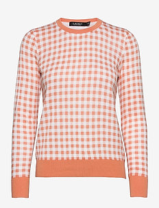 Gingham Cotton-Modal Sweater - trøjer - shell coral/ whit