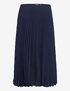 Pleated Georgette Skirt - midinederdele - french navy